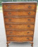 SOLD - Serpentine Fronted Tall Burr Walnut Chest of Drawers